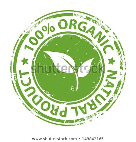 100 organic product label isolated white background stock photo © cammep