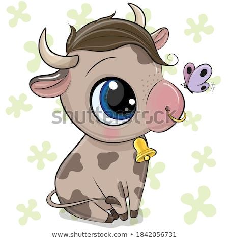 голову · белый · корова · стилизованный · рисунок · продовольствие - Сток-фото © cidepix