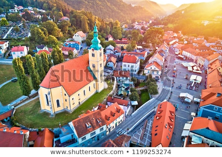 town of samobor square aerial burning sunset view stock photo © xbrchx
