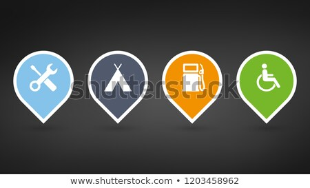 set of colorfull map pointers or pins with extra icons vector illustrations isolated on black backg stock photo © kyryloff