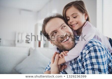 Közelkép apa kicsi lánygyermek otthon család Stock fotó © dolgachov