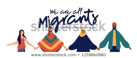 Migrants Day banner of diverse culture people team Stock photo © cienpies
