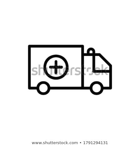 Mentő ikon fekete egészség felirat szolgáltatás Stock fotó © Imaagio