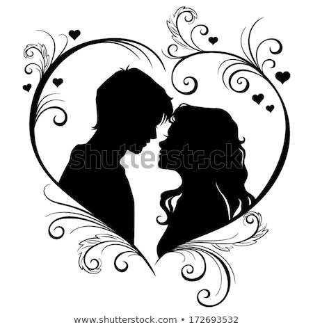 Saint valentin cadre mariage vecteur deux coeurs Photo stock © ESSL