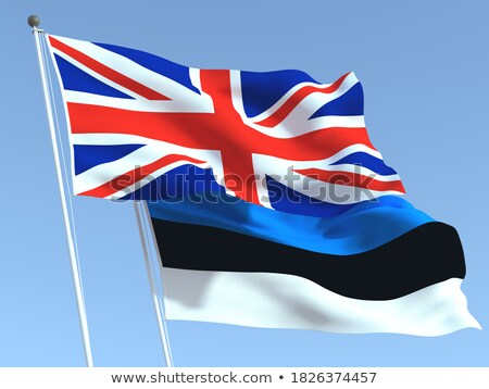Twee vlaggen Estland geïsoleerd witte Stockfoto © MikhailMishchenko