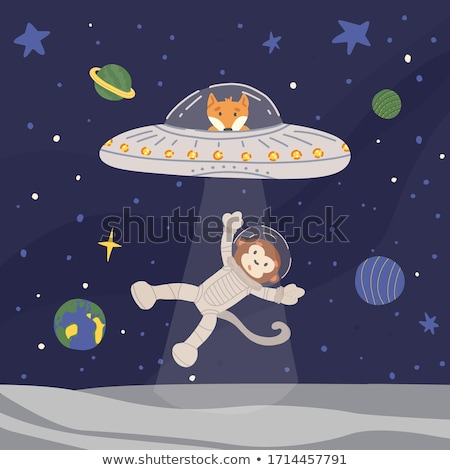 обезьяны UFO иллюстрация фон искусства банан Сток-фото © colematt