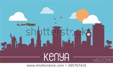 Ház zászló Kenya csetepaté fehér házak Stock fotó © MikhailMishchenko