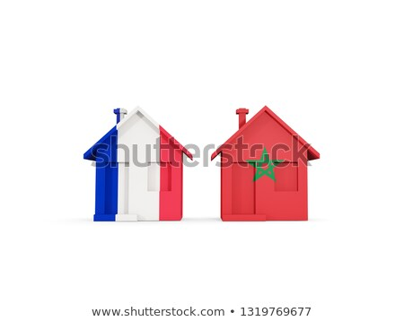 Two houses with flags of France and morocco Stock photo © MikhailMishchenko