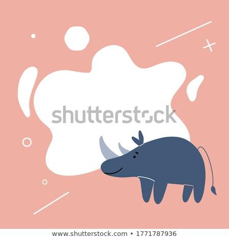 Nosorożec Uwaga ilustracja tekstury tle ramki Zdjęcia stock © bluering