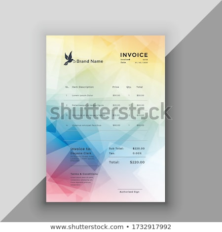 vettore · fattura · modello · design · carta · tavola - foto d'archivio © sarts