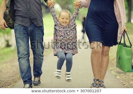 Anne yürüyüş yaz küçük kız esmer Stok fotoğraf © ElenaBatkova