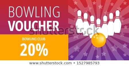 Fioletowy bilet bowling gry szablon wektora Zdjęcia stock © pikepicture