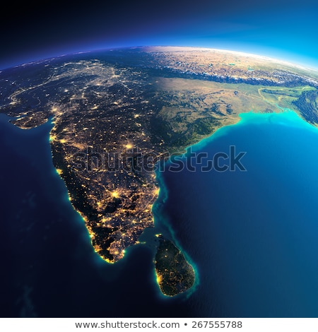 Szczegółowy ziemi noc Indie Sri Lanka planety Ziemi Zdjęcia stock © Antartis
