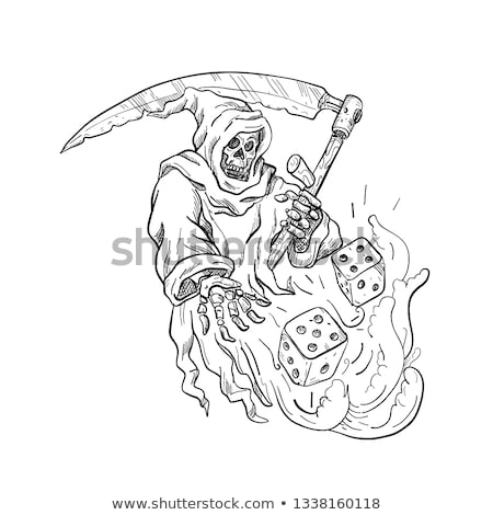 The Grim Reaper Rolling the Dice Drawing Black and White Stock photo © patrimonio