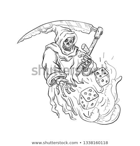 Stockfoto: Grimmig · dobbelstenen · tekening · zwart · wit · schets · stijl