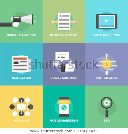 Person presenting new application icons and symbols Stock photo © ra2studio