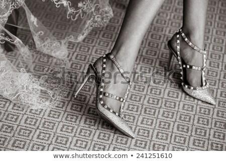 Oblubienicy suknie buty ceremonia ślubna biały ślub Zdjęcia stock © Illia
