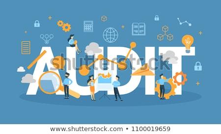 könyvvizsgáló · könyvelés · adó · nagyító · kéz · pénzügyi · beszámoló - stock fotó © rastudio