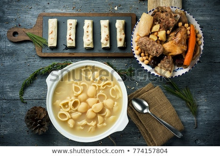 canelons and escudella typical of Catalonia, Spain
