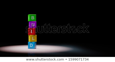Cubos construir texto negro colorido Foto stock © make