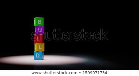 Bouwen tekst zwarte kleurrijk Stockfoto © make