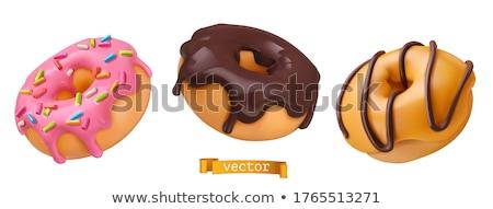 Doughnut Dessert with Glaze, Bakery Cafe Vector Stock photo © robuart