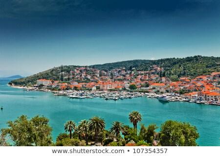 Casas Croacia histórico barrio antiguo mar azul Foto stock © borisb17