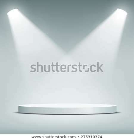 Round stage podium with light. Stage vector backdrop. Festive yellow podium scene with carpet for aw Stock photo © olehsvetiukha