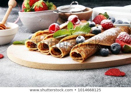 lezzetli · lezzetli · ev · yapımı · krep · bal · nane - stok fotoğraf © melnyk