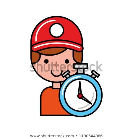operator with stopwatch online shopping logistic Stock photo © yupiramos