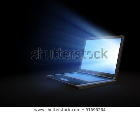 Foto stock: Tela · do · computador · blue · sky · televisão · fundo · quadro · monitor