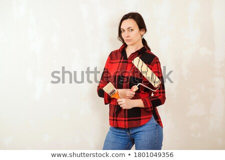 donna · pittura · muro · rosso · design · vernice - foto d'archivio © photography33