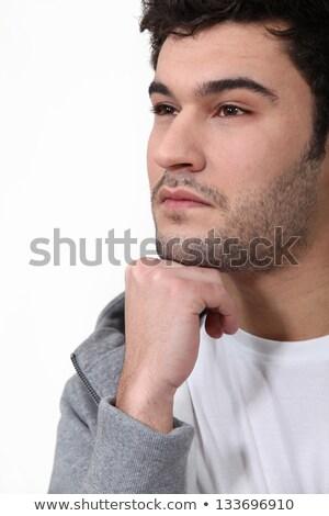 Zamyślony człowiek dotknąć podbródek pięść twarz Zdjęcia stock © photography33