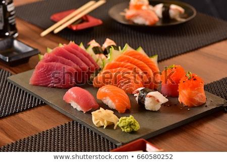 japán · étel · közelkép · kép · kéz · evőpálcika · szusi - stock fotó © pongam