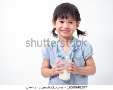 mooie · meisje · glas · verse · melk · geïsoleerd - stockfoto © Len44ik