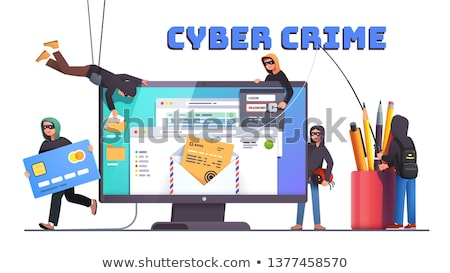 вора интернет компьютер белый студию человек Сток-фото © jarp17
