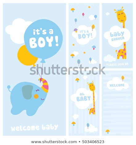 新しい · 赤ちゃん · 発表 · カード · キリン · 歳の誕生日 - ストックフォト © balasoiu