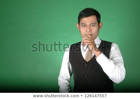 アジア 若い男 思考 白 ビジネス 手 ストックフォト © antonihalim