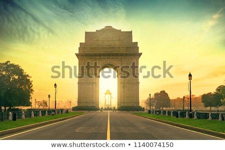 Beroemd Indië poort Delhi stad oorlog Stockfoto © meinzahn