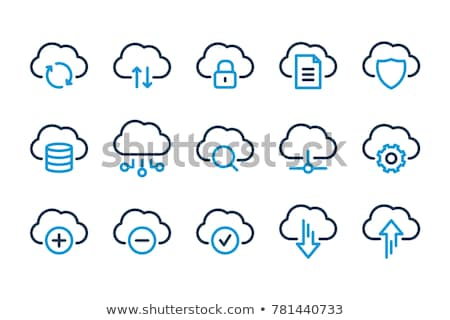 облако значок 3d визуализации голубой компьютер небе бумаги Сток-фото © klss