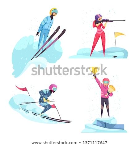 Ikona pistolet zimą narciarskie narty gry Zdjęcia stock © iaRada