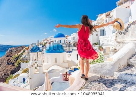 Grecja dziewczyna młoda dziewczyna banderą malowany twarz Zdjęcia stock © gemenacom