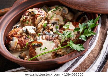 Stock photo: fried patties with mushrooms