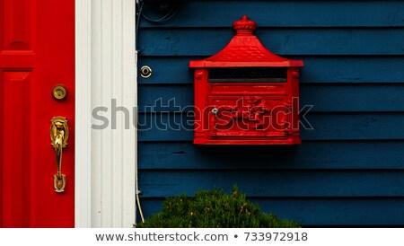Brass door handle on a colorful blue door Stock photo © juniart