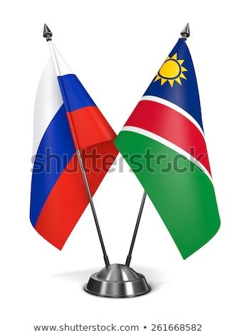 Россия Намибия миниатюрный флагами изолированный белый Сток-фото © tashatuvango