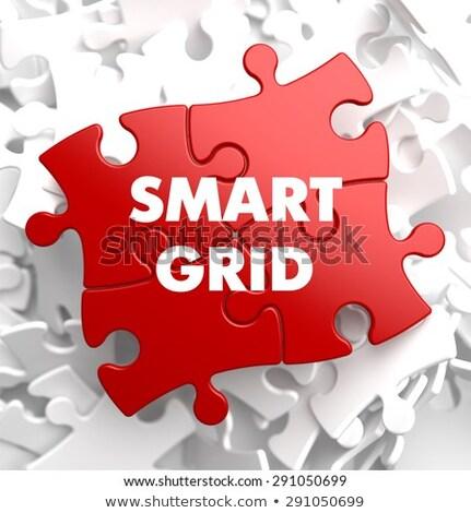 Smart griglia rosso puzzle bianco sfondo Foto d'archivio © tashatuvango