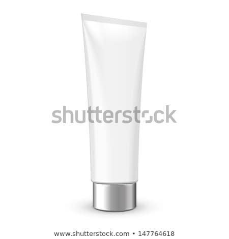 Cosmetic Or Hygiene Grayscale White Gray Chrome Lid Plastic Bottle Of Gel, Liquid Soap, Lotion, Crea Stock photo © netkov1