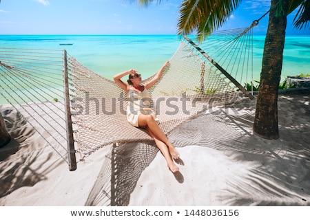 belle · jeune · femme · détente · mer · femme · ciel - photo stock © artfotoss