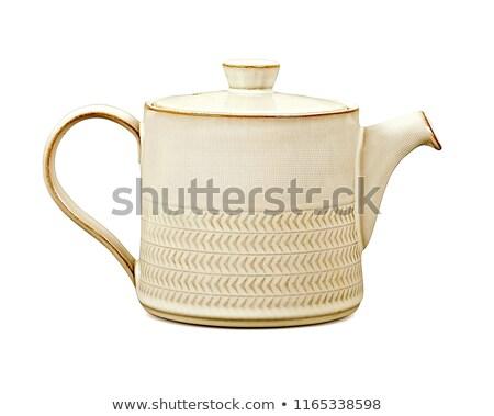 keramische · theepot · geïsoleerd · witte · achtergrond · drinken - stockfoto © jarin13