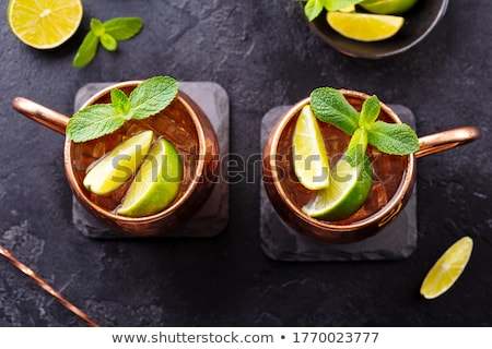 Cocktail Moscow Mule on black board Stock photo © netkov1